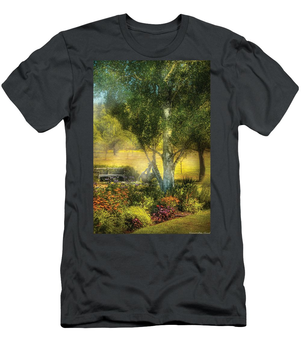 Savad Men's T-Shirt (Athletic Fit) featuring the photograph Bench - I Had This Dream And It All Began by Mike Savad