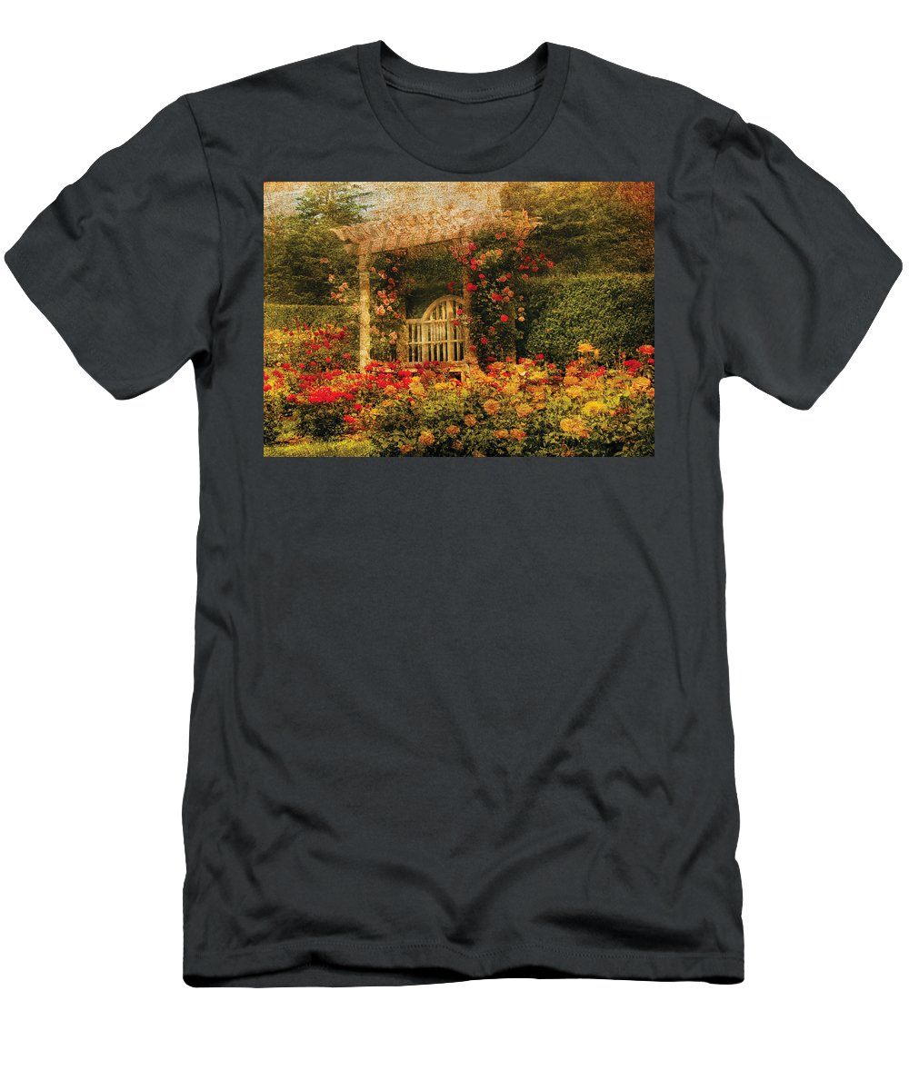 Roses Men's T-Shirt (Athletic Fit) featuring the photograph Bench - The Rose Garden by Mike Savad