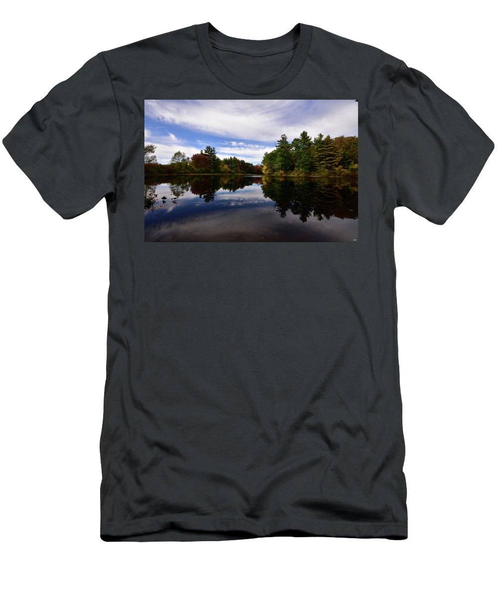 Salmon Ffalls River Men's T-Shirt (Athletic Fit) featuring the photograph Bend In The River by Ron Hebert