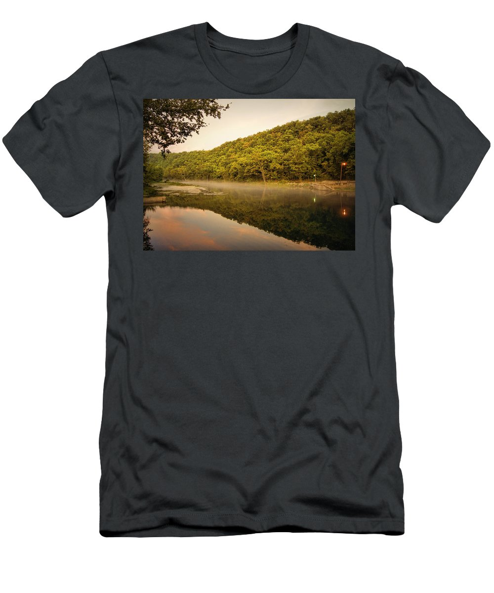 bennett Springs Men's T-Shirt (Athletic Fit) featuring the photograph Bennett Springs Reflections by Cricket Hackmann