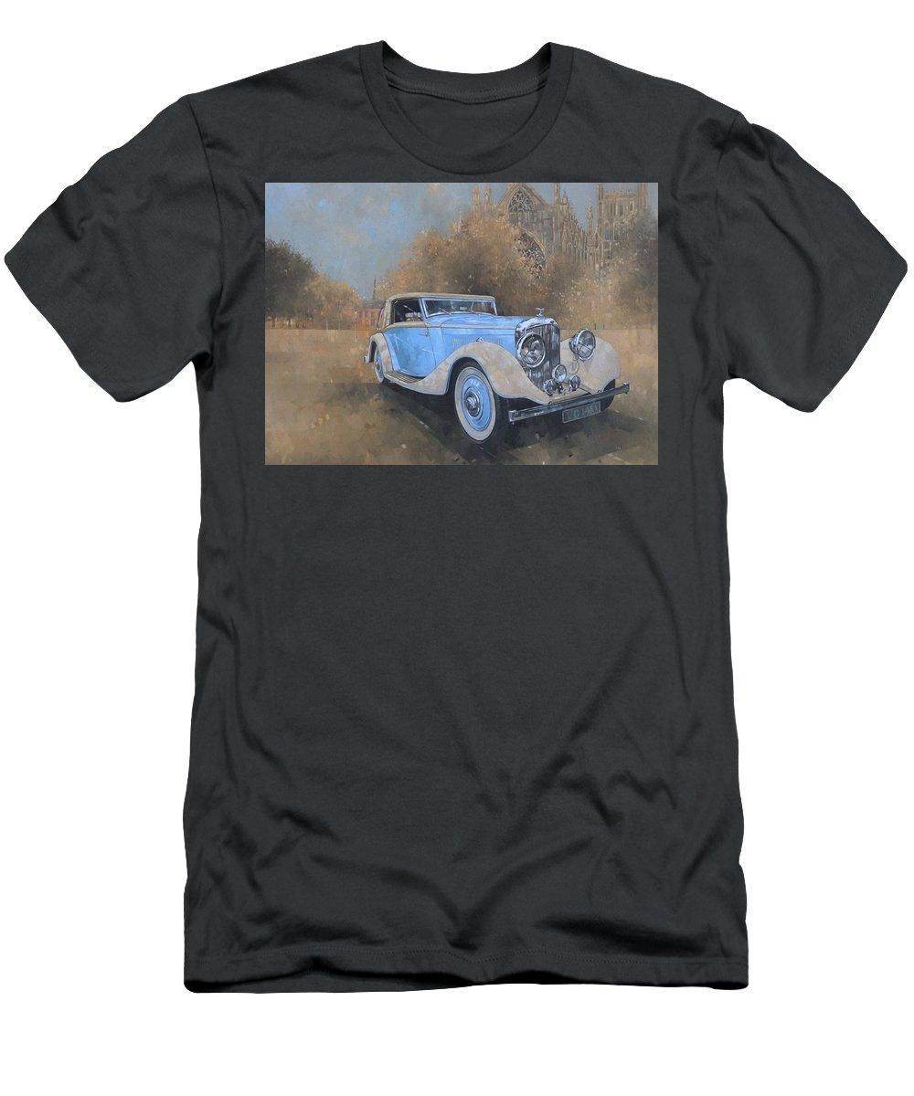 Car; Vehicle; Vintage; Automobile; Blue; Bentley; Kellner; Old Timer T-Shirt featuring the painting Bentley By Kellner by Peter Miller