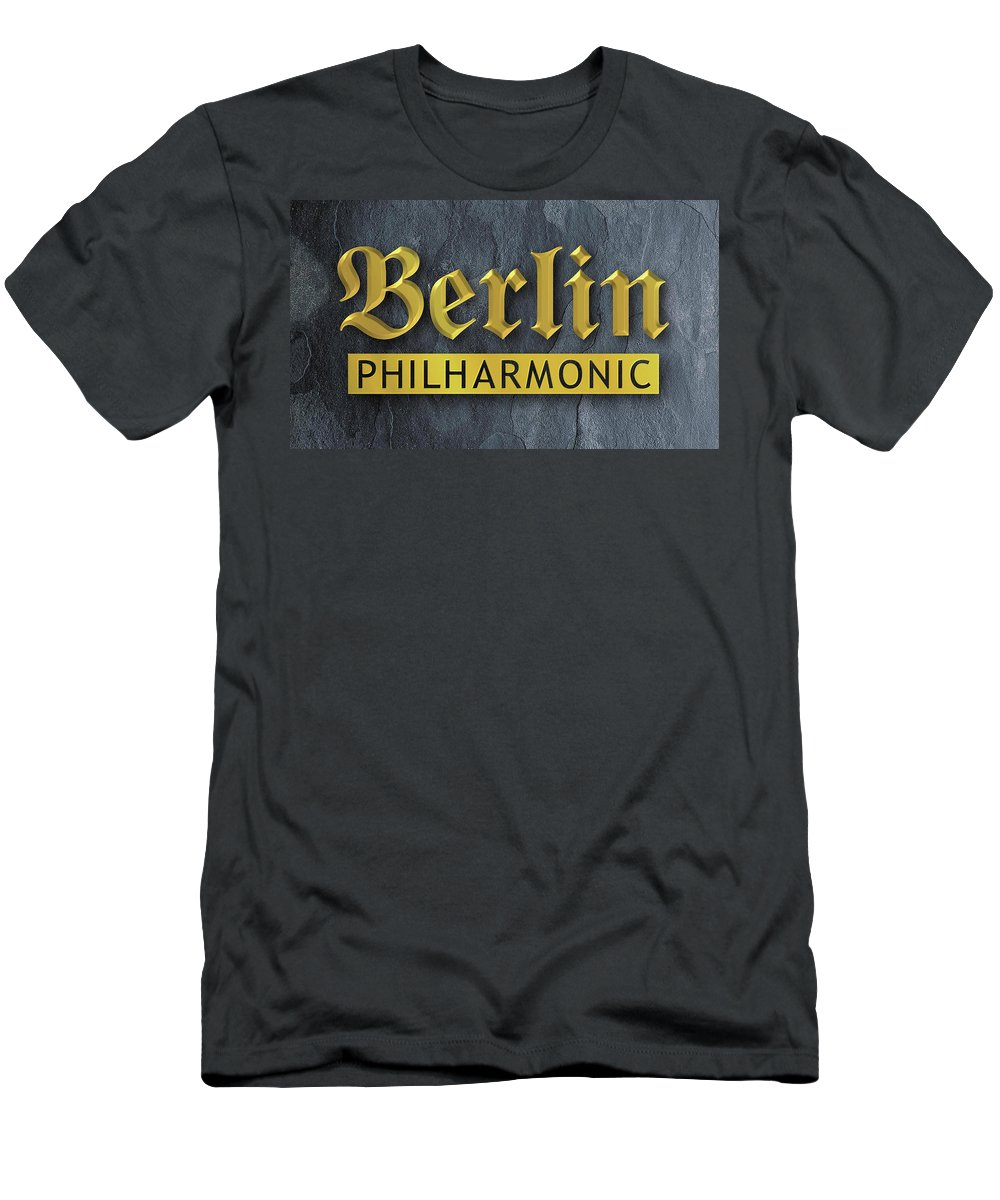 Lettering Men's T-Shirt (Athletic Fit) featuring the digital art Berlin Philharmonic by Alan Steele