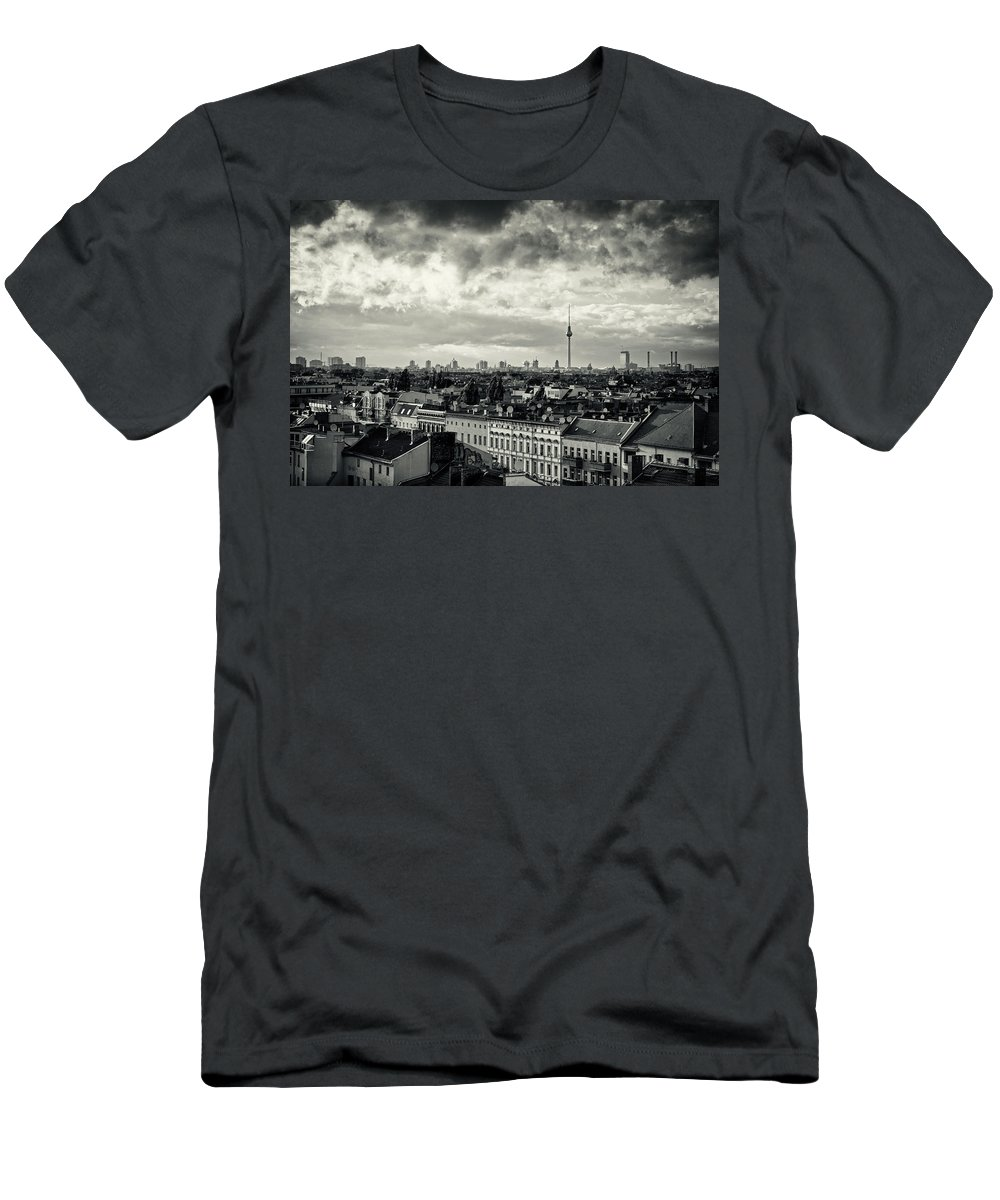 Berlin Men's T-Shirt (Athletic Fit) featuring the photograph Berlin Skyline And Roofscape -black And White by Alexander Voss