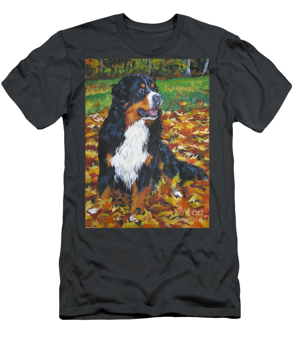 Dog Men's T-Shirt (Athletic Fit) featuring the painting Bernese Mountain Dog Autumn Leaves by Lee Ann Shepard