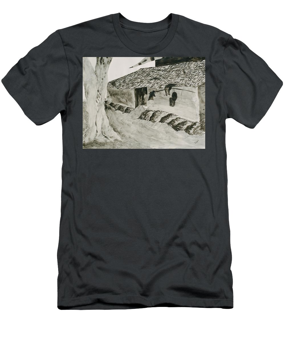 Tree Men's T-Shirt (Athletic Fit) featuring the painting Beside The Watery Path by Pushpak Chattopadhyay