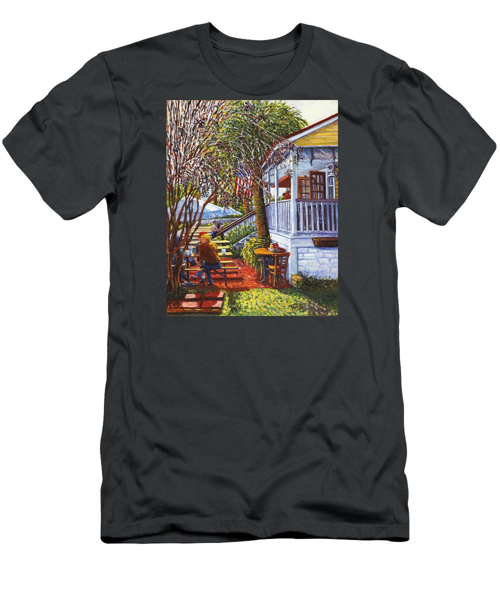 Poes Men's T-Shirt (Athletic Fit) featuring the painting Best Seat On Sullivans Island by Thomas Michael Meddaugh
