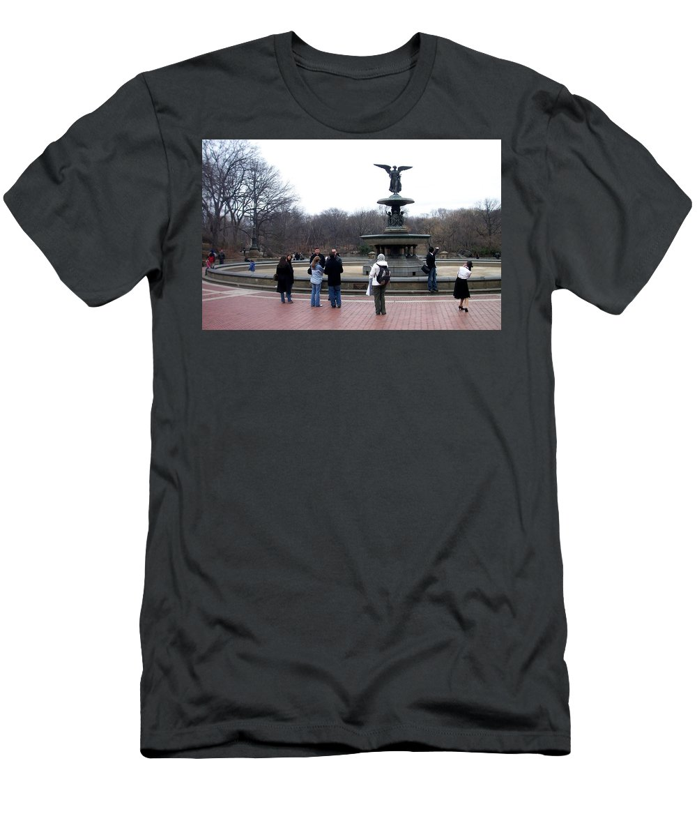 Bethesda Fountain Men's T-Shirt (Athletic Fit) featuring the photograph Bethesda Fountain by Anita Burgermeister
