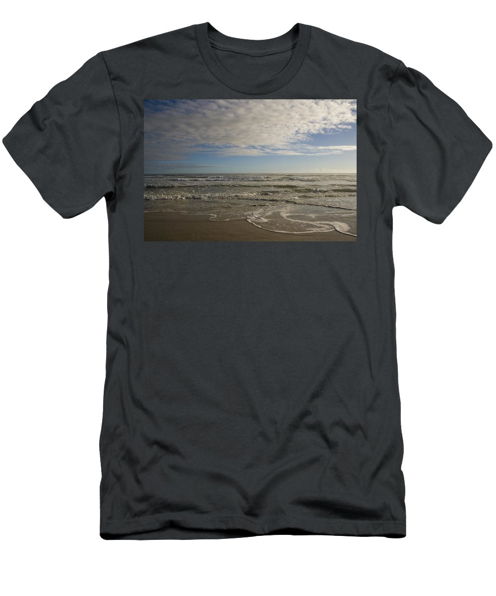 Wave Sand Ocean Beach Sky Water Wave Tide Sun Sunny Vacation Cloud Morning Early Men's T-Shirt (Athletic Fit) featuring the photograph Between Night And Day by Andrei Shliakhau