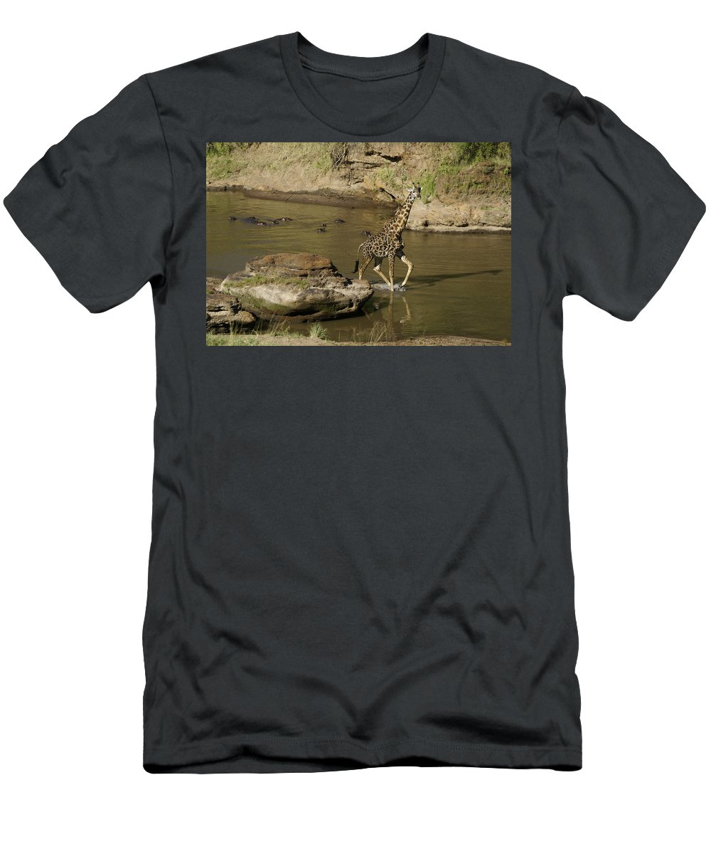 Africa Men's T-Shirt (Athletic Fit) featuring the photograph Beware Of Hippos by Michele Burgess