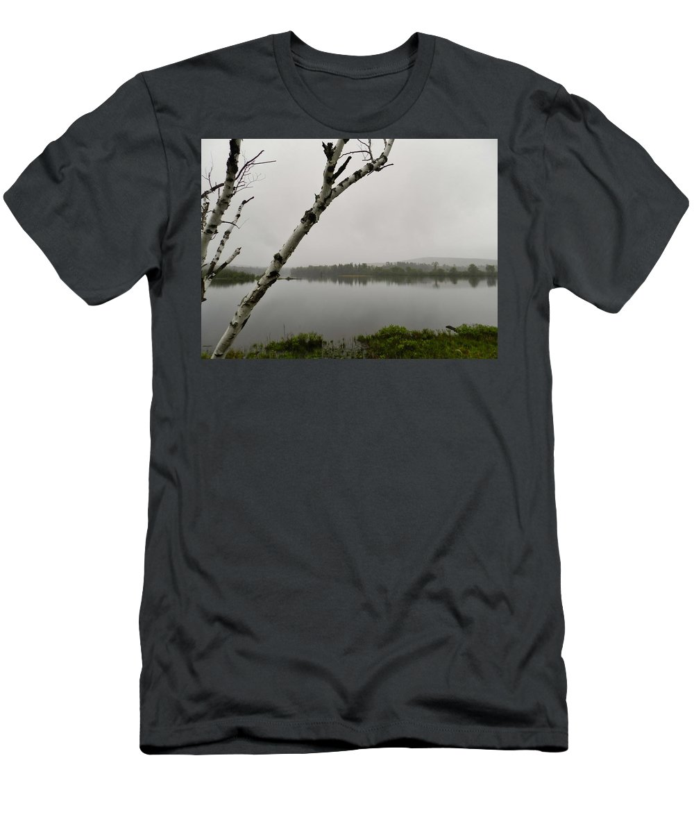 Birch Men's T-Shirt (Athletic Fit) featuring the photograph Beyond The Birches by Marjorie Stevenson