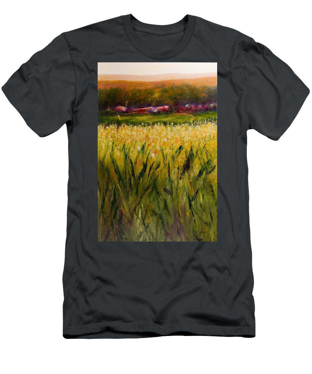 Landscape T-Shirt featuring the painting Beyond The Valley by Shannon Grissom