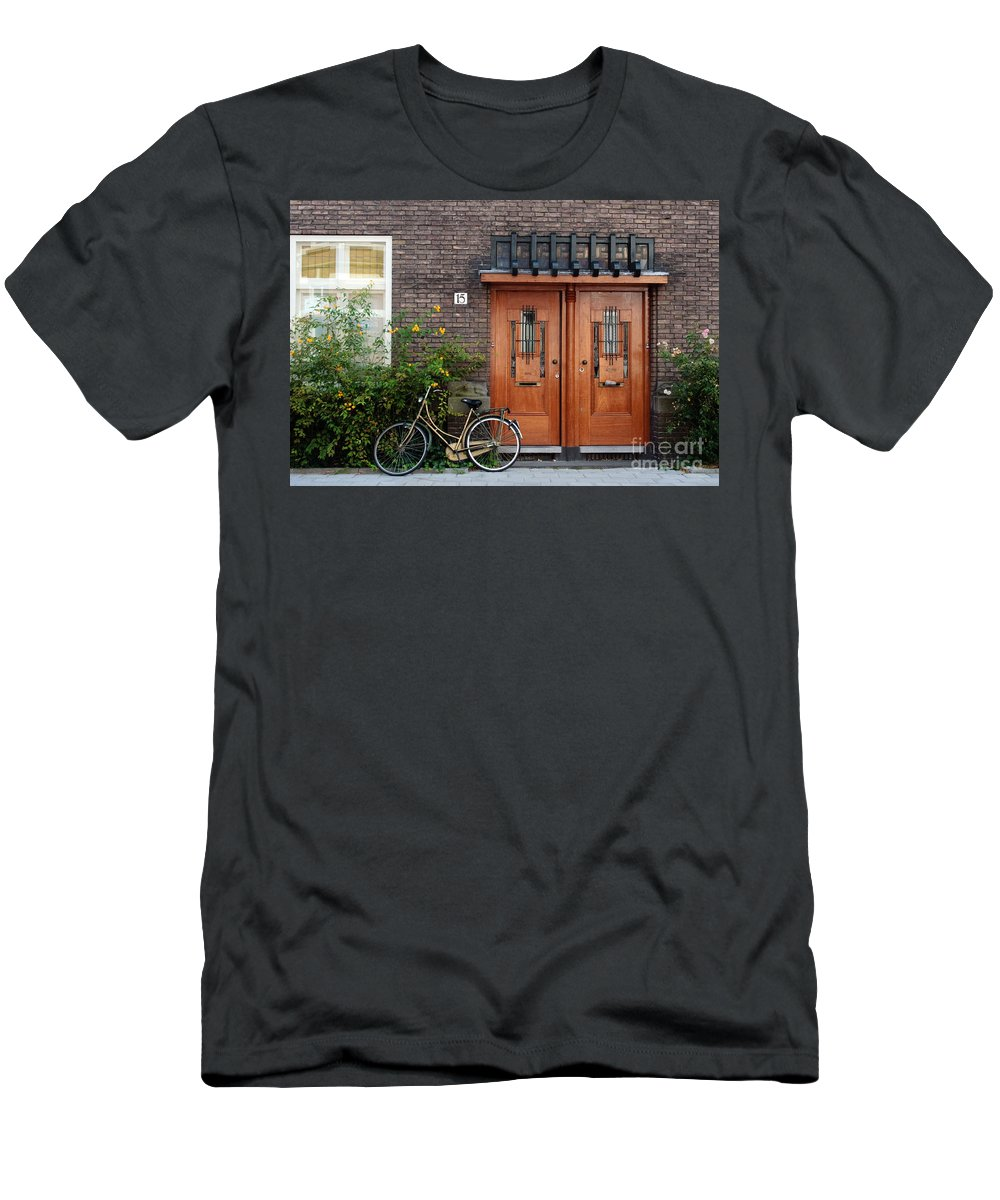 Bicycle Men's T-Shirt (Athletic Fit) featuring the photograph Bicycle And Wooden Door by Thomas Marchessault