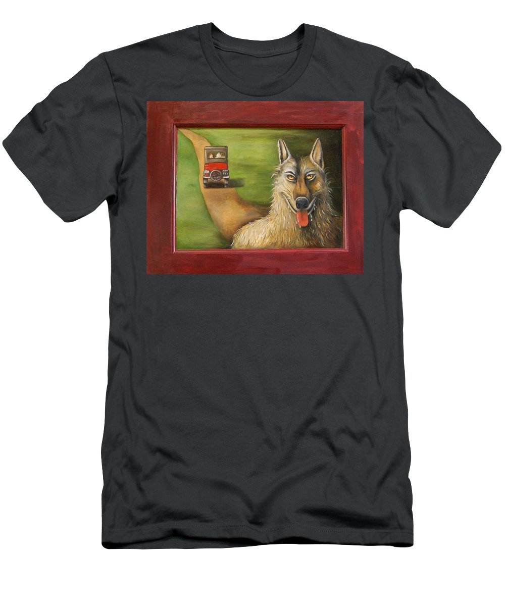 Wolf Men's T-Shirt (Athletic Fit) featuring the painting Big Bad Wolf by Leah Saulnier The Painting Maniac