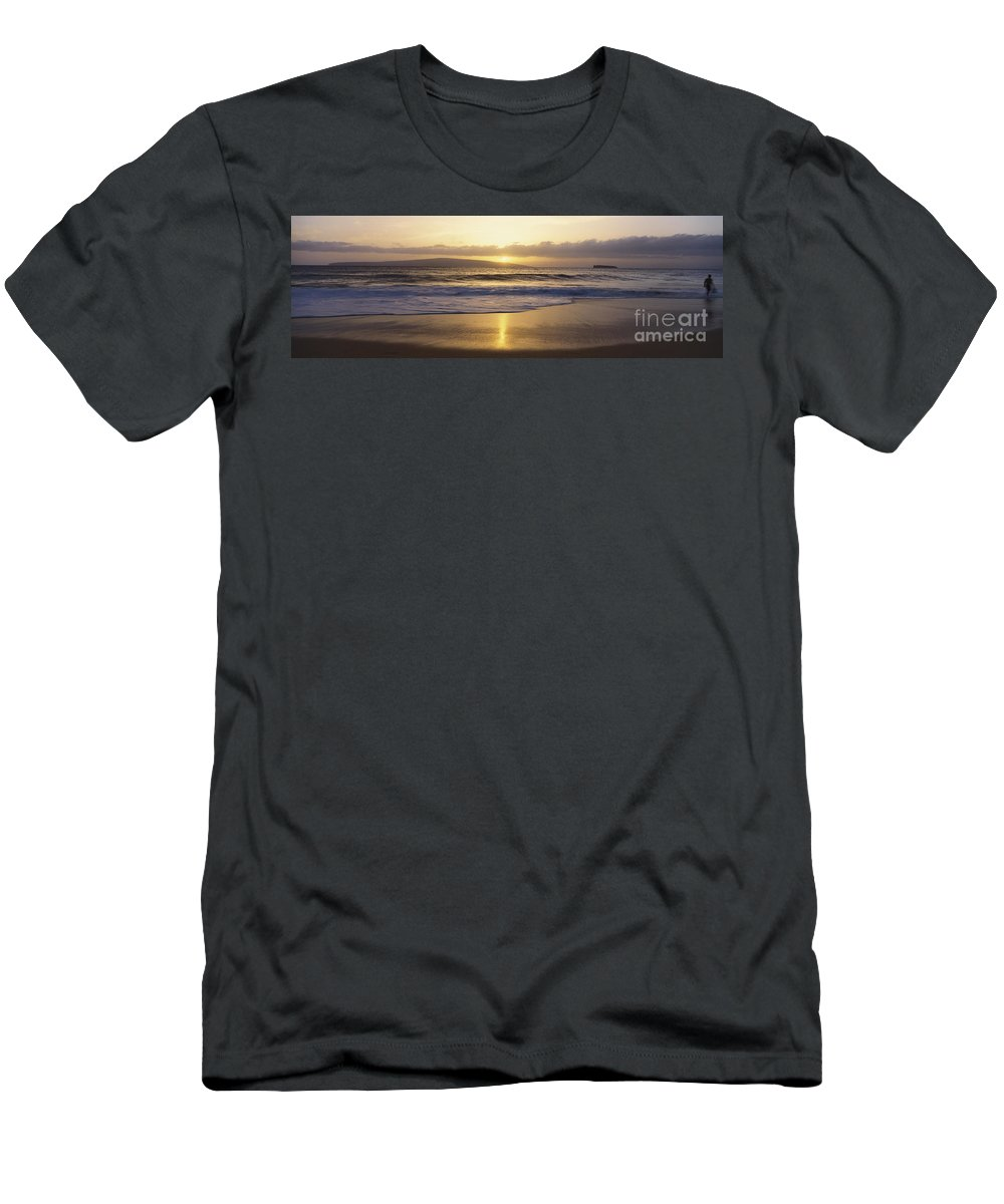 Beach Men's T-Shirt (Athletic Fit) featuring the photograph Big Beach At Sunset by Bill Schildge - Printscapes