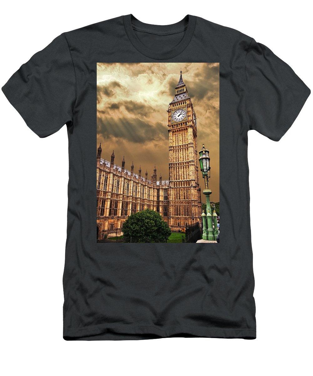 Big Ben Men's T-Shirt (Athletic Fit) featuring the photograph Big Ben's House by Meirion Matthias