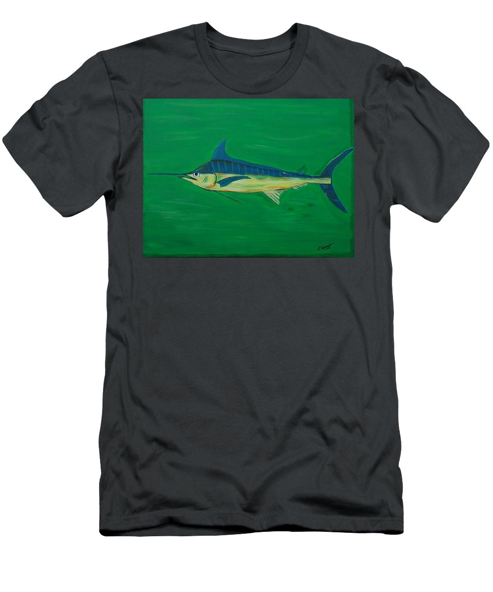 Blue Marlin Men's T-Shirt (Athletic Fit) featuring the painting Big Fish by Angela Miles Varnado