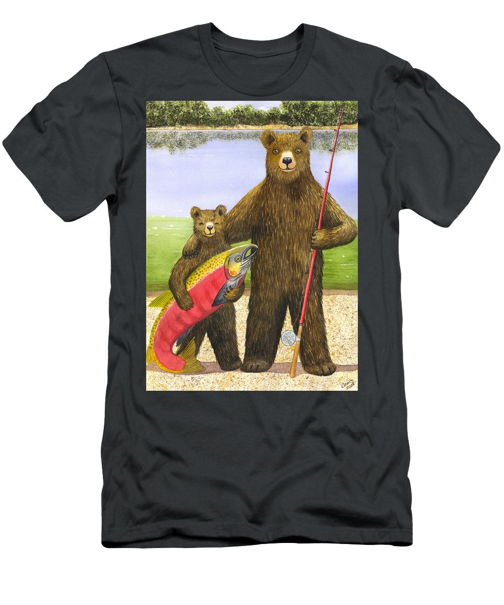 Bear Men's T-Shirt (Athletic Fit) featuring the painting Big Fish by Catherine G McElroy