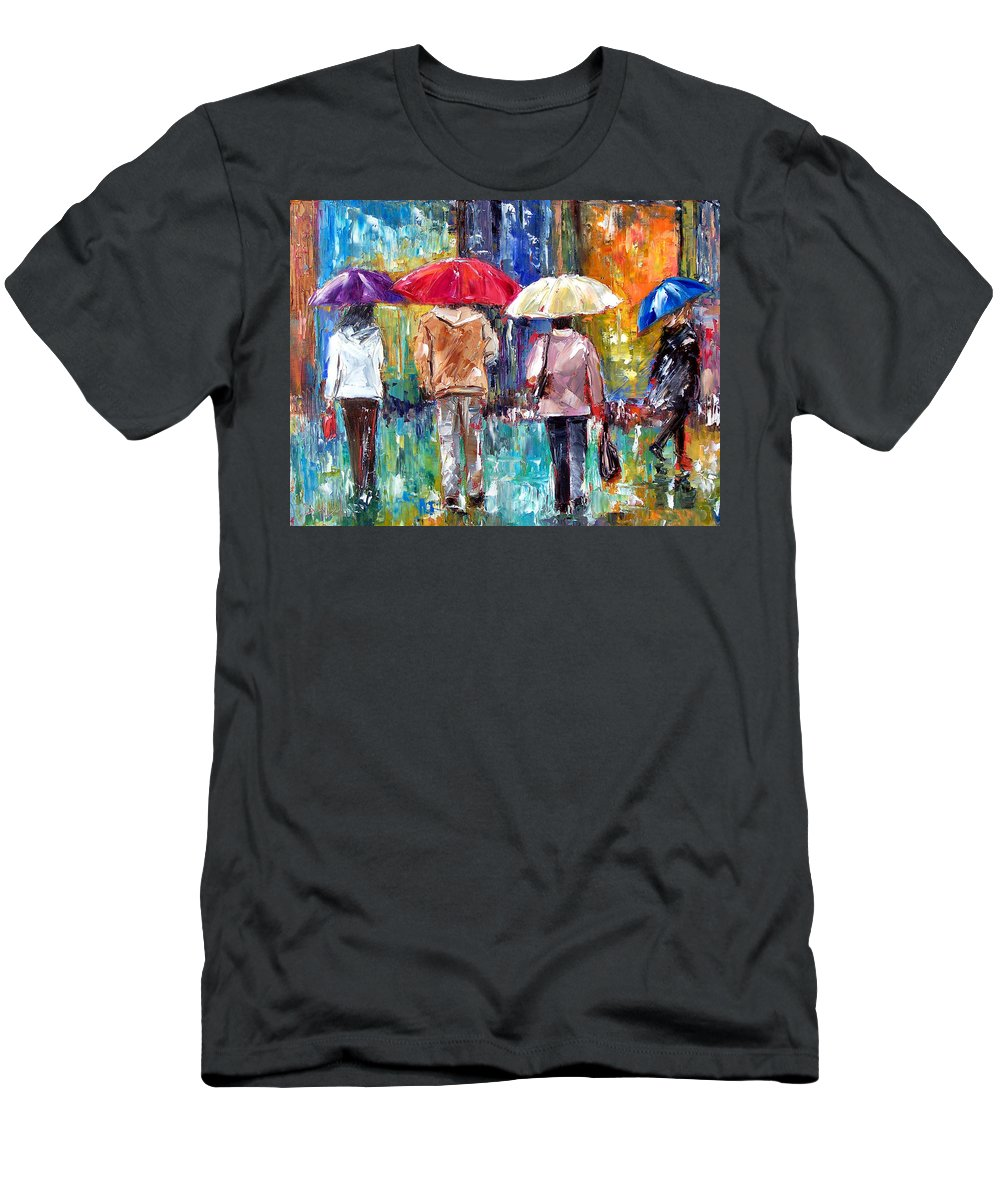 Rain Men's T-Shirt (Athletic Fit) featuring the painting Big Red Umbrella by Debra Hurd