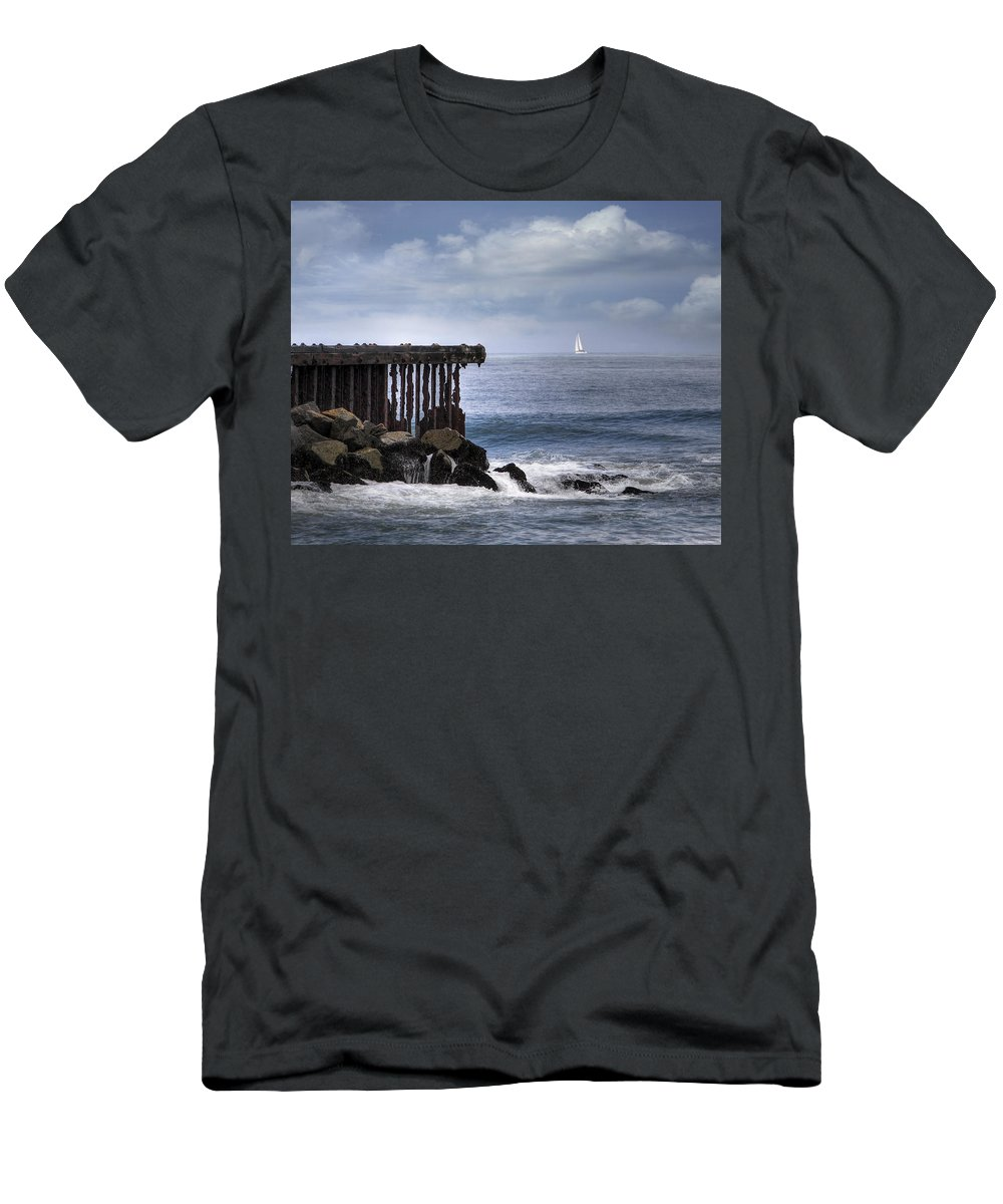 Pacific Ocean Men's T-Shirt (Athletic Fit) featuring the photograph Big Sea Small Boat by Joan Baker
