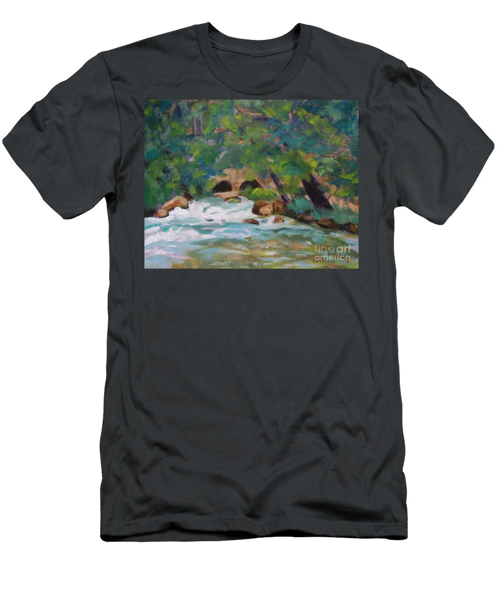 Impressionistic Men's T-Shirt (Athletic Fit) featuring the painting Big Spring On The Current River by Jan Bennicoff