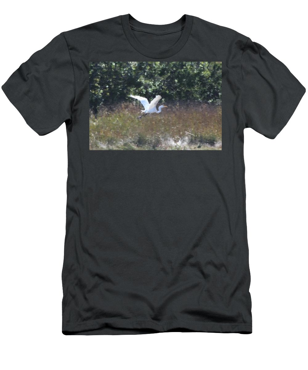 Heron Men's T-Shirt (Athletic Fit) featuring the photograph Big White Bird Flying Away by Modern Art