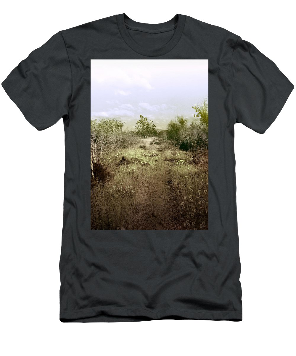 Landscape Men's T-Shirt (Athletic Fit) featuring the photograph Bike Path Brown by Karen W Meyer