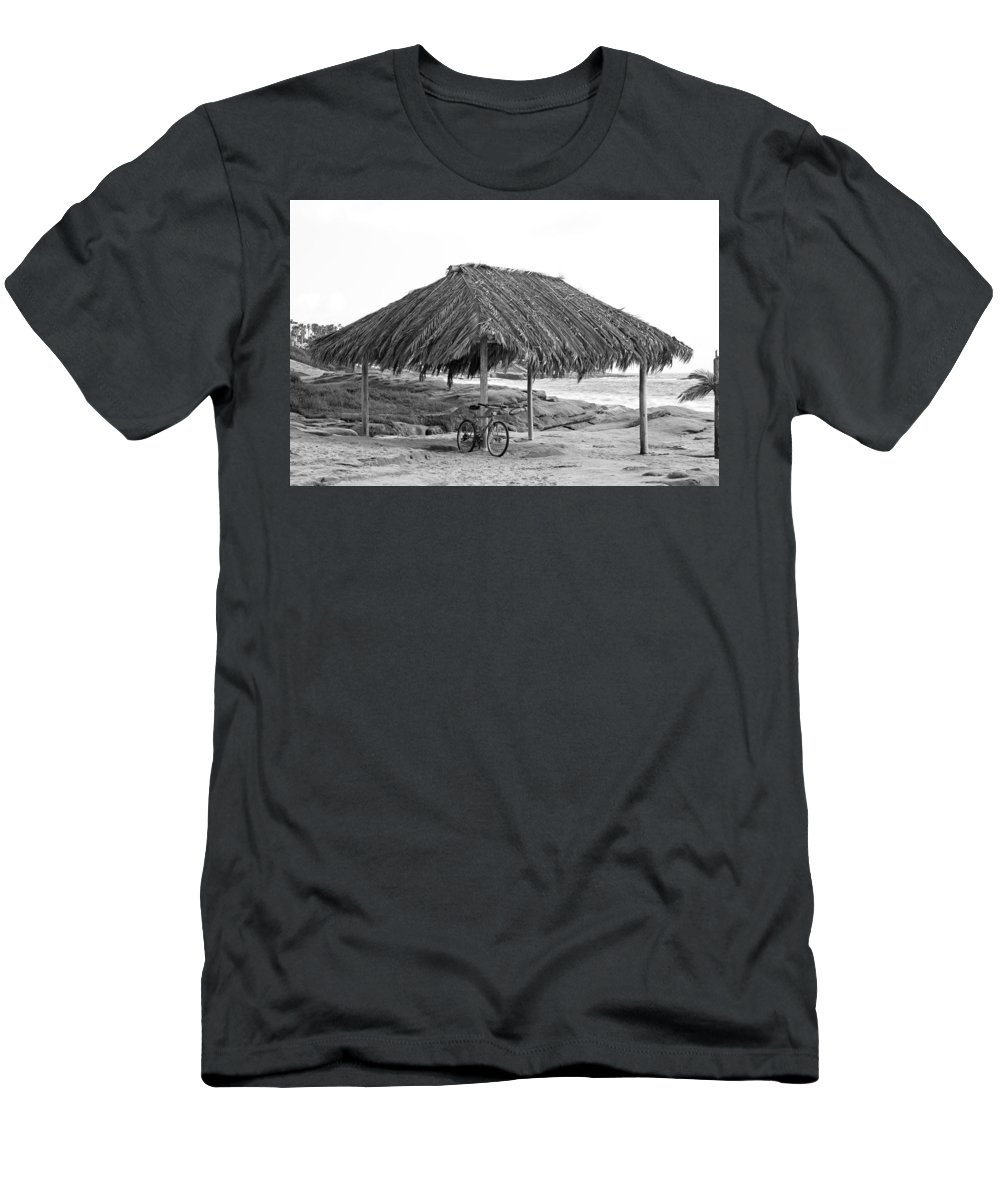Sea Men's T-Shirt (Athletic Fit) featuring the photograph Bike Sale At The Windnasea Shack In La Jolla. by Michael Sangiolo