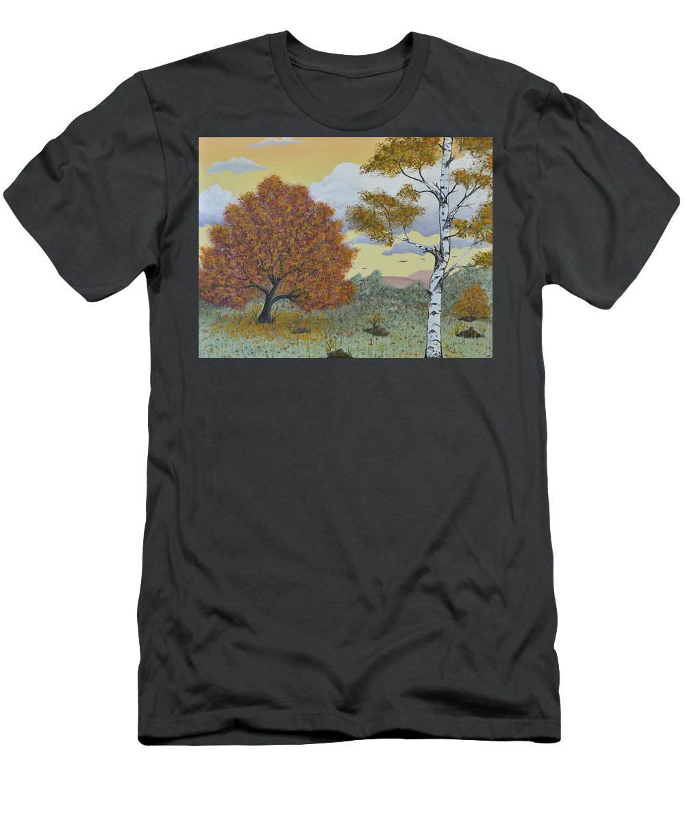 Landscape Men's T-Shirt (Athletic Fit) featuring the painting Birch And Oak Frienship by Georgeta Blanaru