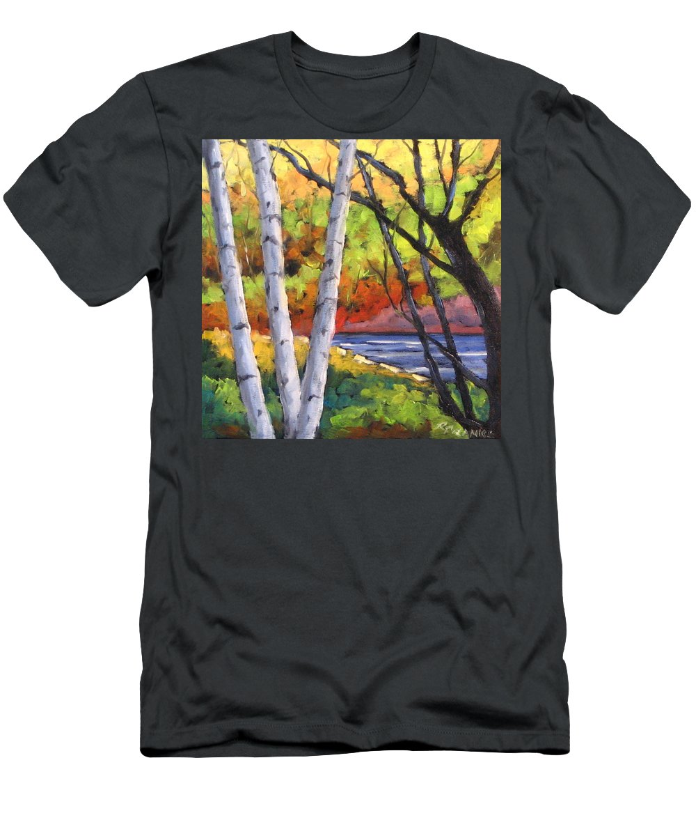 Art Men's T-Shirt (Athletic Fit) featuring the painting Birches 06 by Richard T Pranke