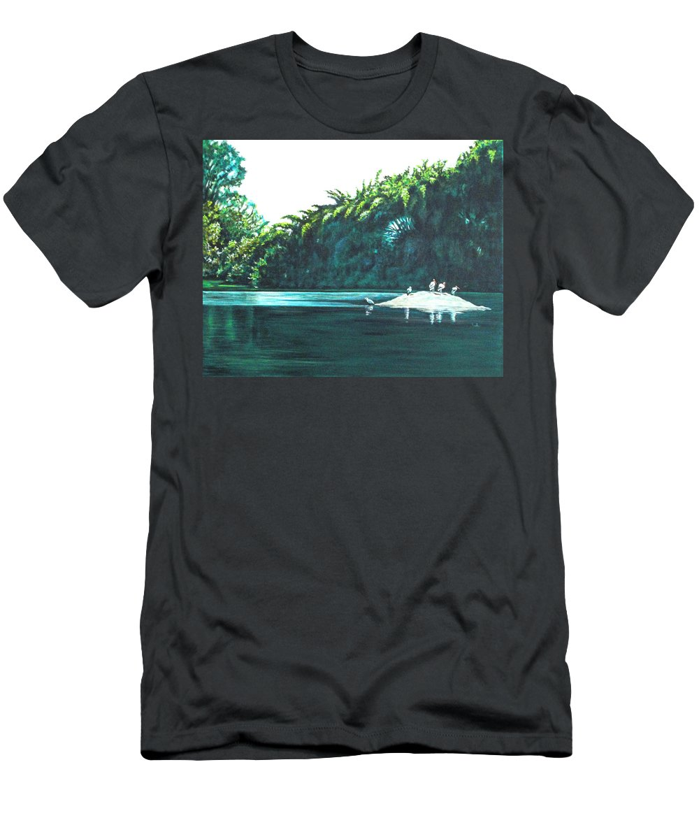 Birds Men's T-Shirt (Athletic Fit) featuring the painting Bird Haven by Usha Shantharam