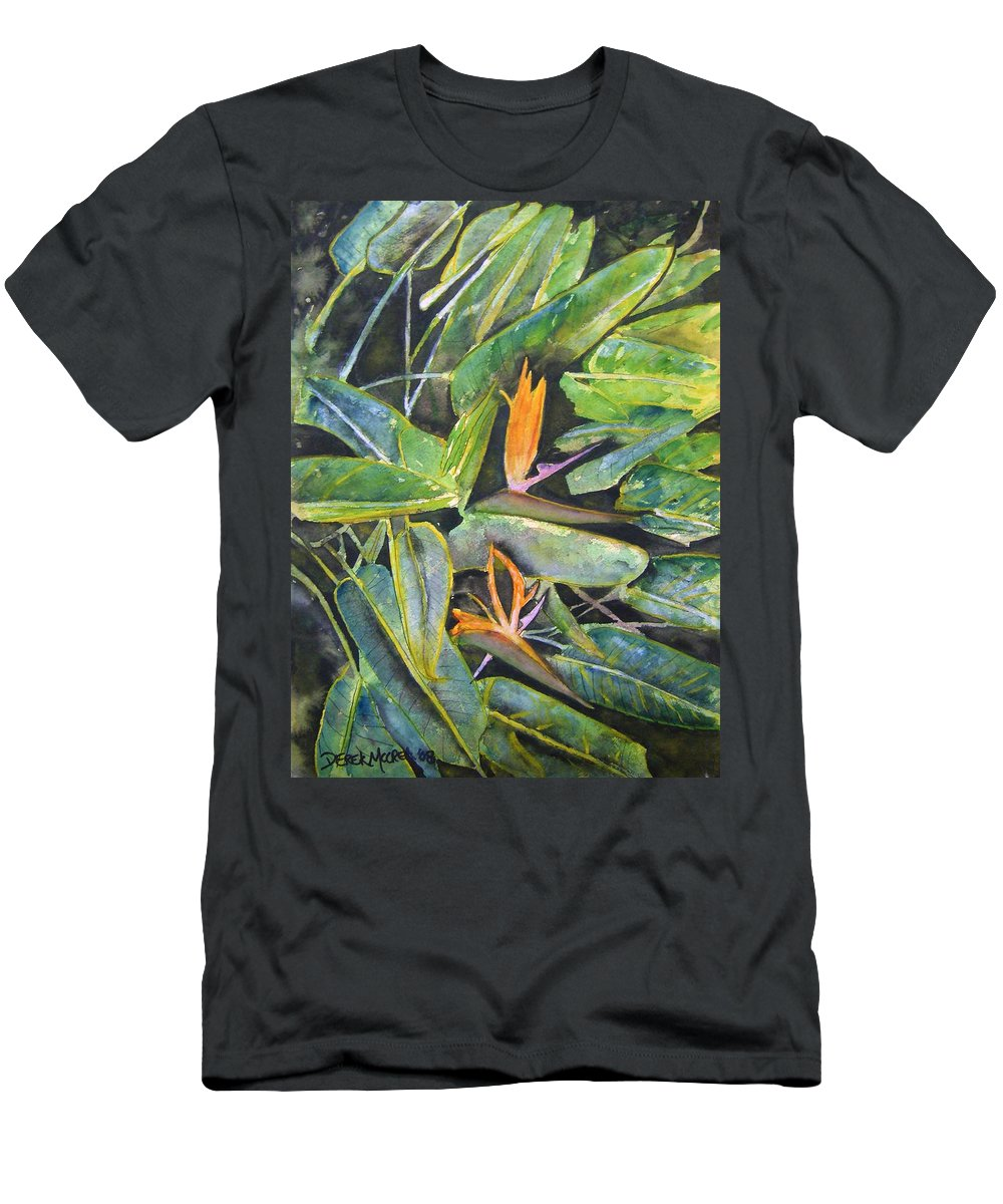 Flower Men's T-Shirt (Athletic Fit) featuring the painting Bird Of Paradise 2 by Derek Mccrea
