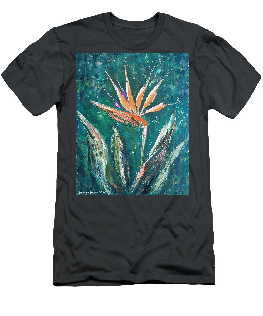 Bird Of Paradise Men's T-Shirt (Athletic Fit) featuring the painting Bird Of Paradise by Gina De Gorna