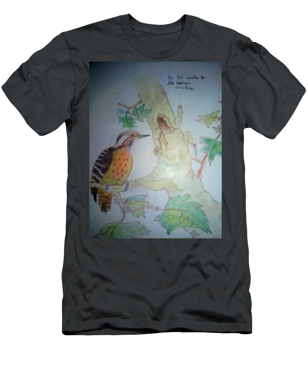 ........... Men's T-Shirt (Athletic Fit) featuring the painting Bird's Life by JITENDRA Verma
