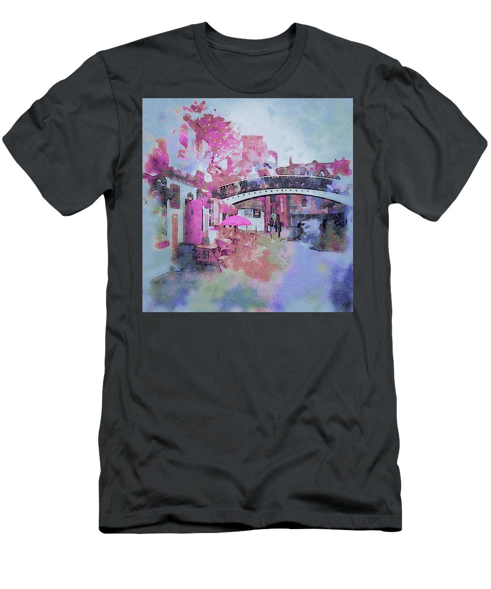 Birmingham Men's T-Shirt (Athletic Fit) featuring the digital art Birmingham Canal Watercolor by Yury Malkov