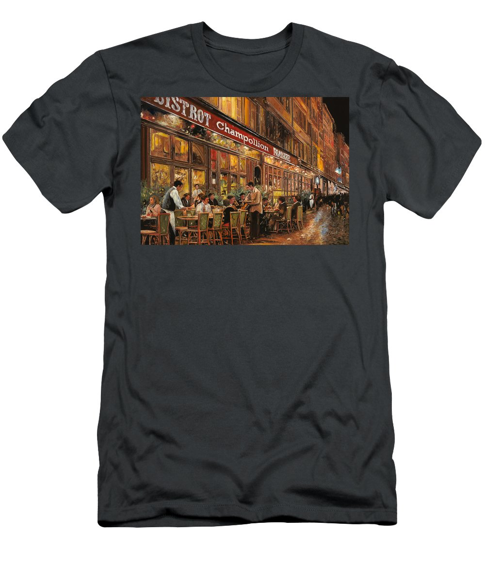 Street Scene Men's T-Shirt (Athletic Fit) featuring the painting Bistrot Champollion by Guido Borelli