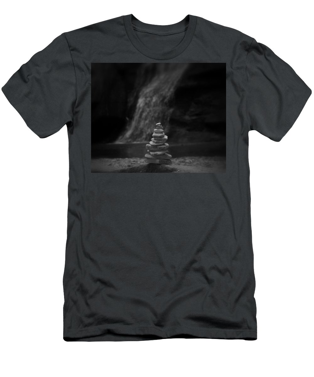 Balanced Stones Waterfall Men's T-Shirt (Athletic Fit) featuring the photograph Black And White Balanced Stones by Dan Sproul