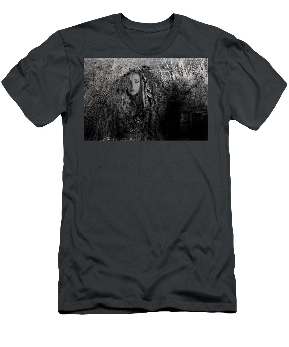 Alone In Woods Men's T-Shirt (Athletic Fit) featuring the photograph Black And White by Bill Munster