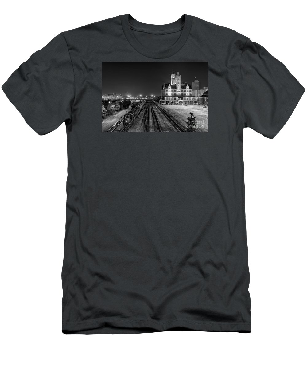 Nashville Men's T-Shirt (Athletic Fit) featuring the photograph Black And White Fine Art Print Of Union Station In Nashville, Tennessee by Jeremy Holmes