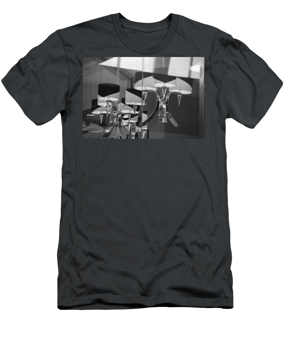 Chandeliers Men's T-Shirt (Athletic Fit) featuring the photograph Black And White Lights by Rob Hans