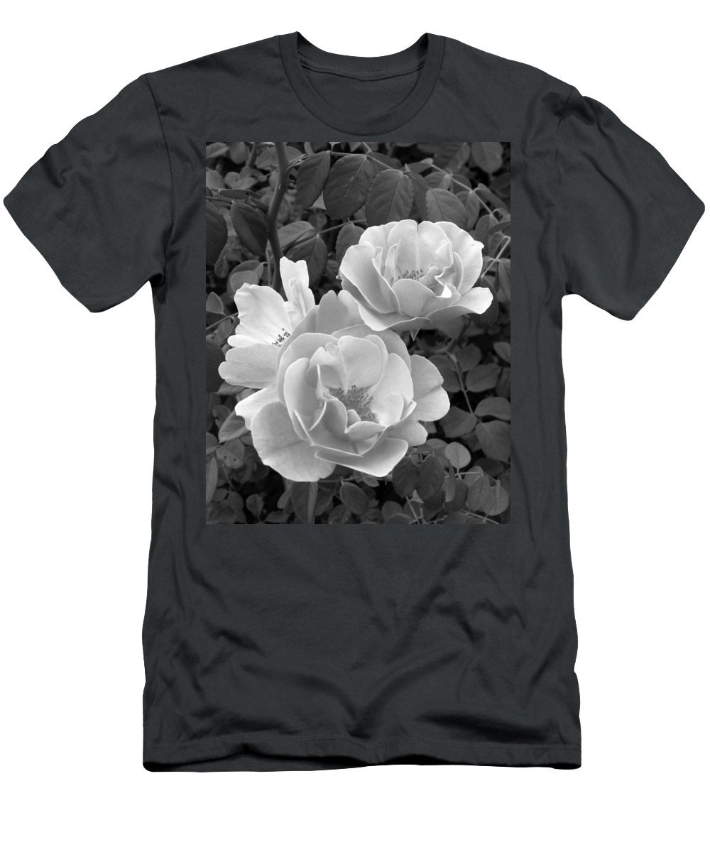 Rose Men's T-Shirt (Athletic Fit) featuring the photograph Black And White Roses 1 by Amy Fose