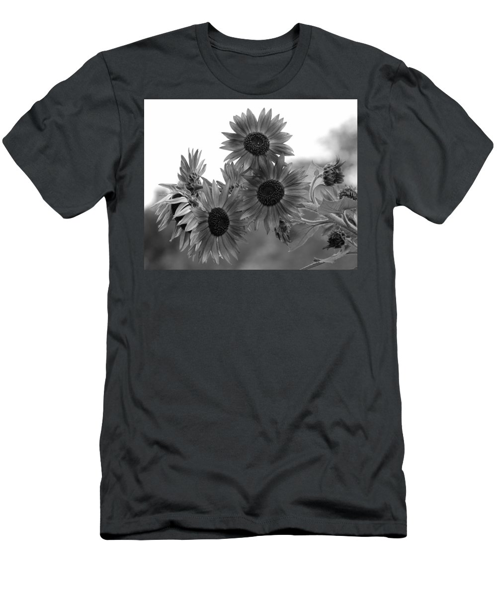 Flower Men's T-Shirt (Athletic Fit) featuring the photograph Black And White Sunflowers by Amy Fose