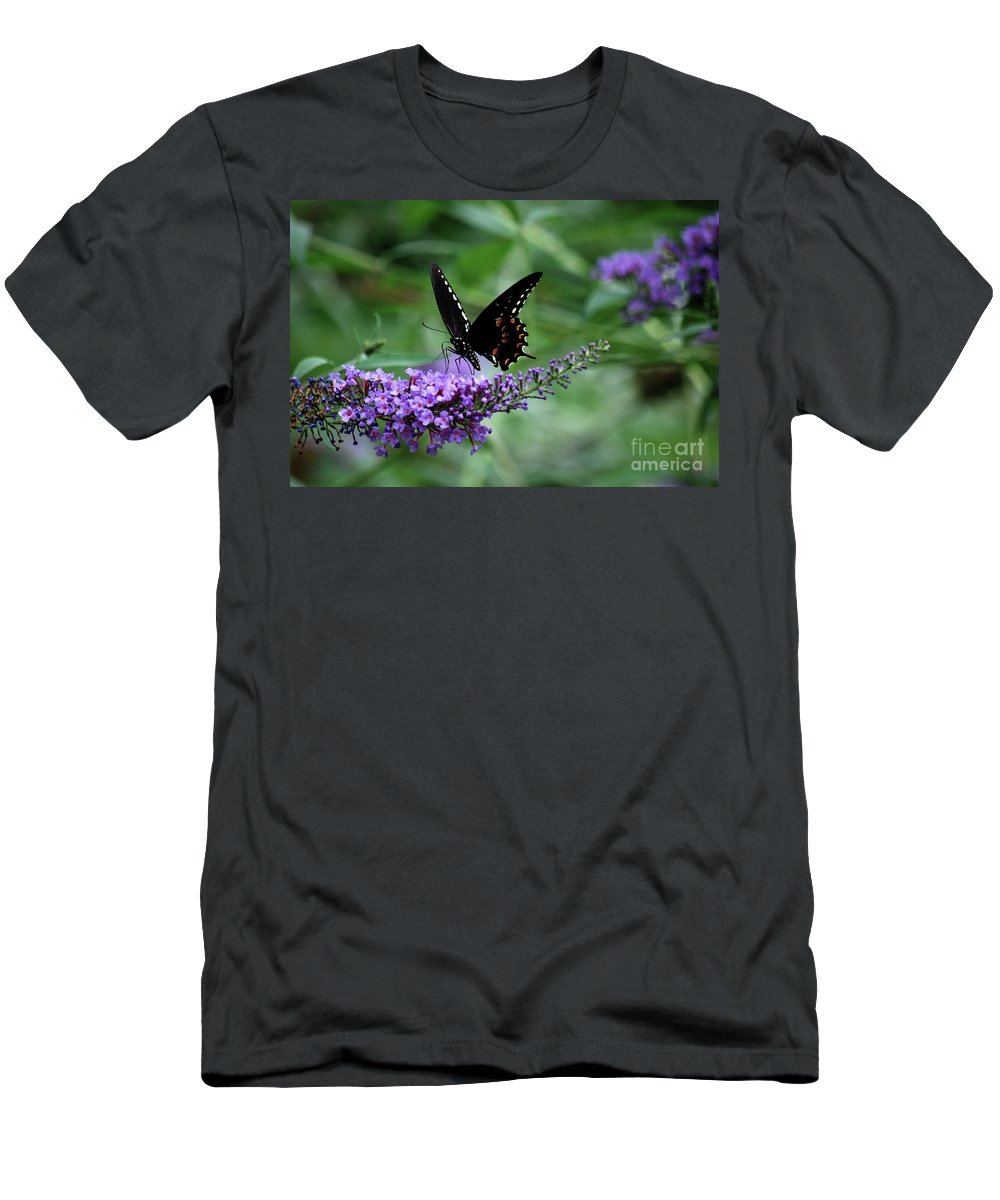 Butterfly Men's T-Shirt (Athletic Fit) featuring the photograph Black Butter by Lori Tambakis