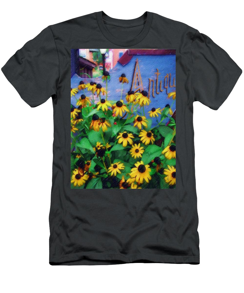Flowers Men's T-Shirt (Athletic Fit) featuring the photograph Black-eyed Susans At The Bag Factory by Sandy MacGowan