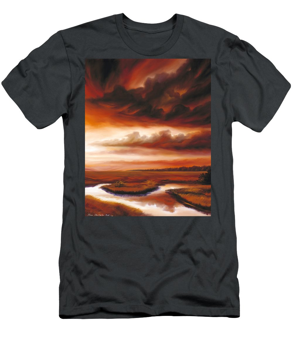 Contemporary T-Shirt featuring the painting Black Fire by James Christopher Hill