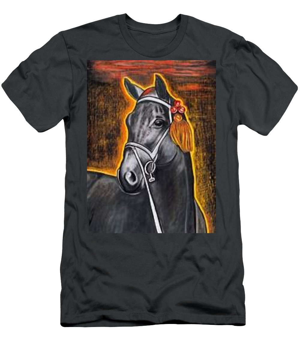 Horse Men's T-Shirt (Athletic Fit) featuring the painting Black Horse by Isabell Von Piotrowski