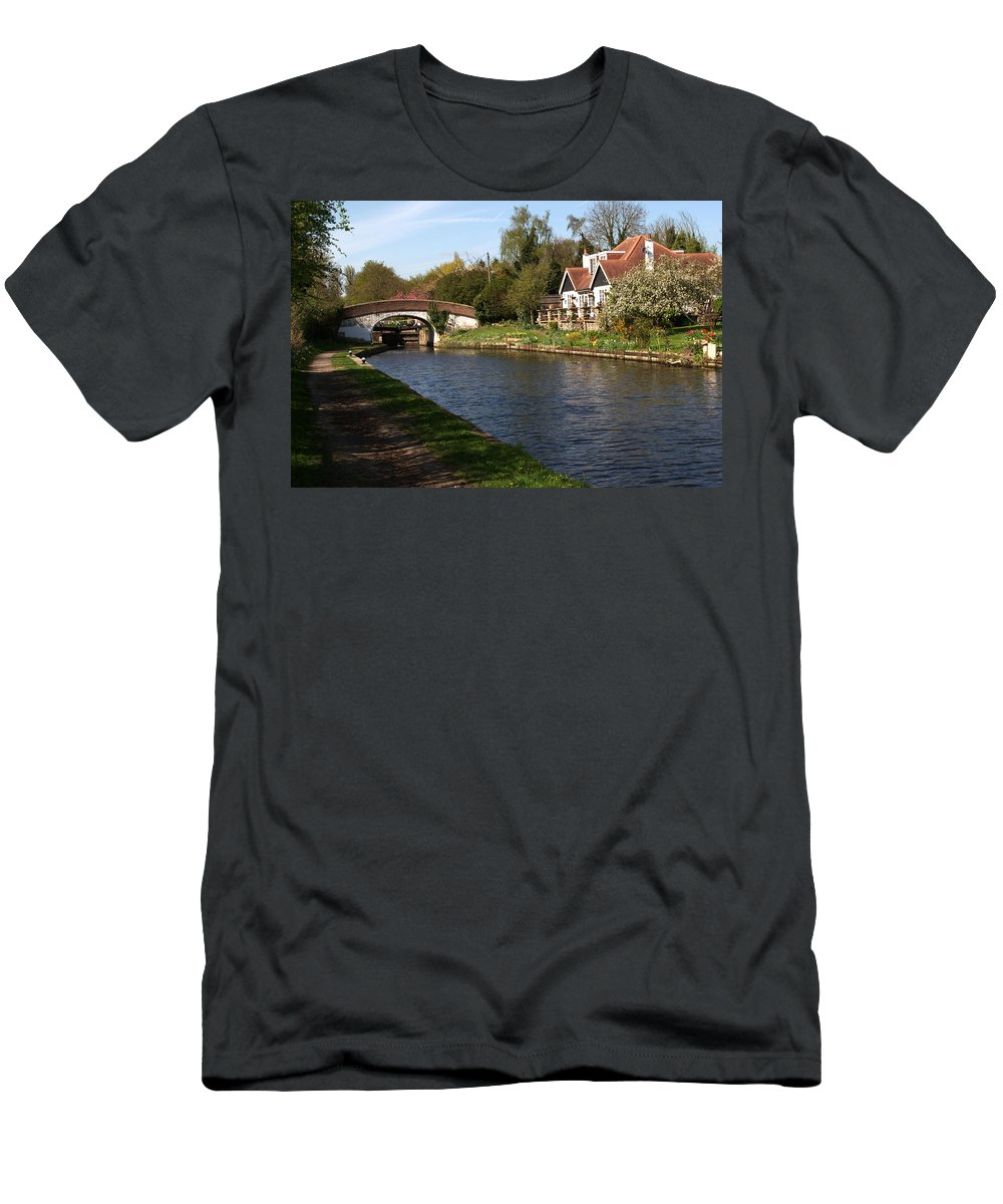 Black Jack Men's T-Shirt (Athletic Fit) featuring the photograph Black Jacks On The Grand Union by Chris Day