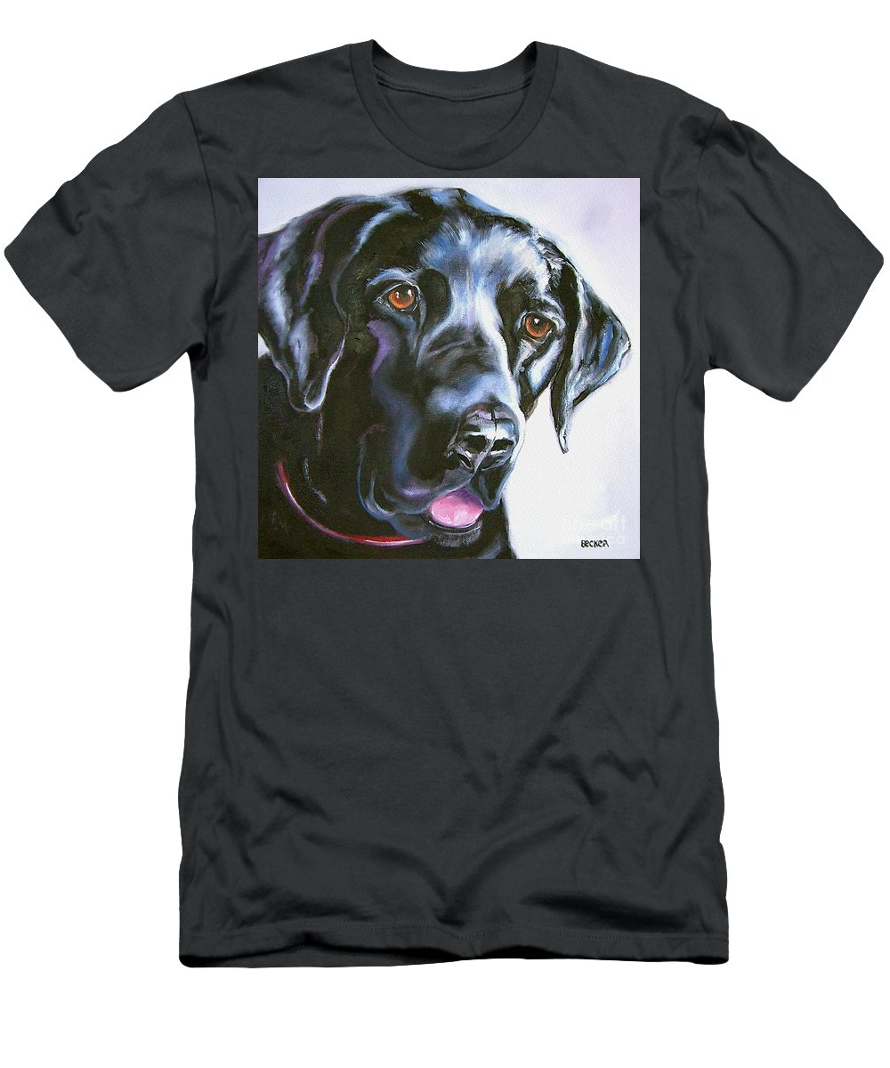 Dogs Men's T-Shirt (Athletic Fit) featuring the painting Black Lab No Ordinary Love by Susan A Becker