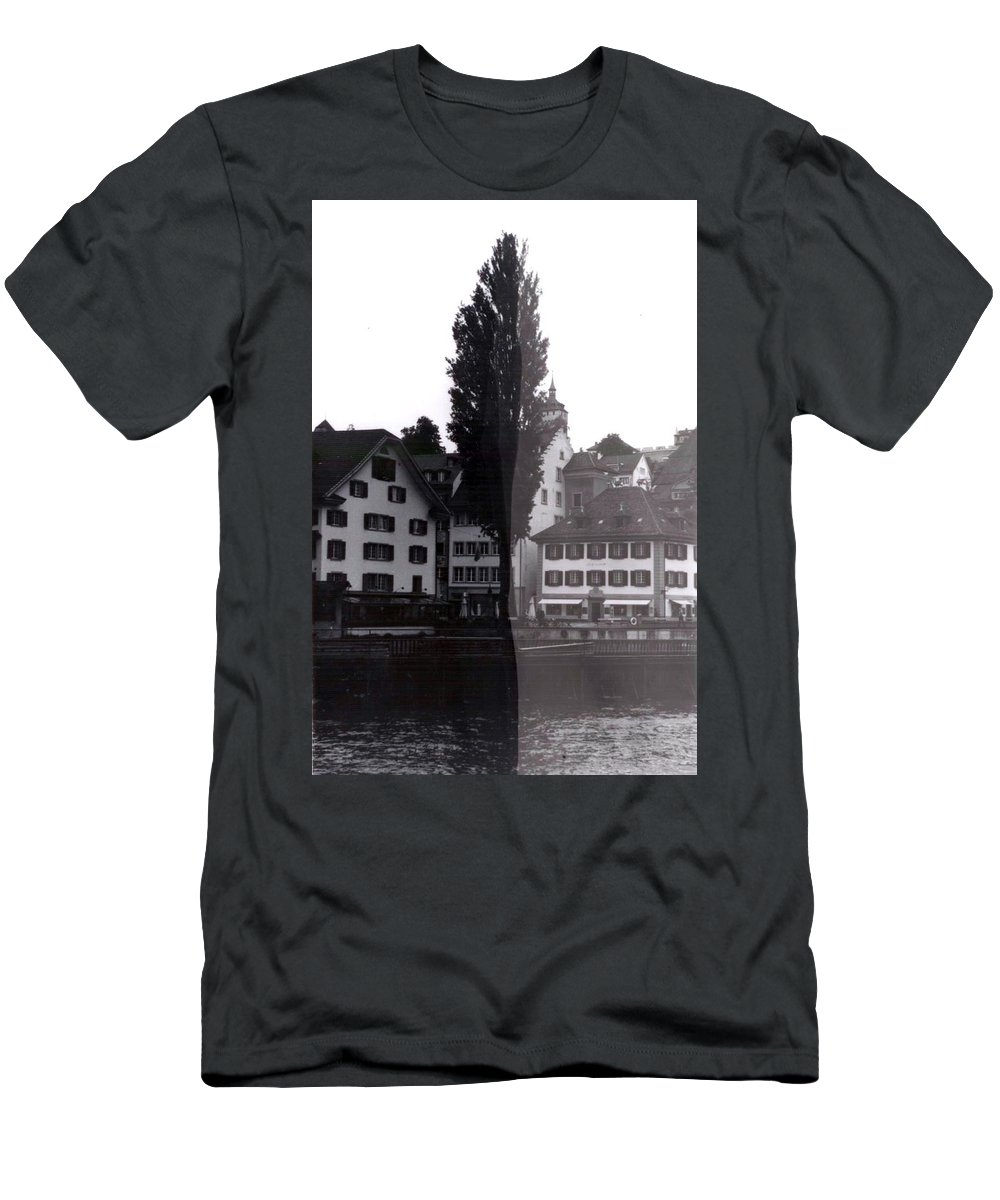 Black And White Men's T-Shirt (Athletic Fit) featuring the photograph Black Lucerne by Christian Eberli