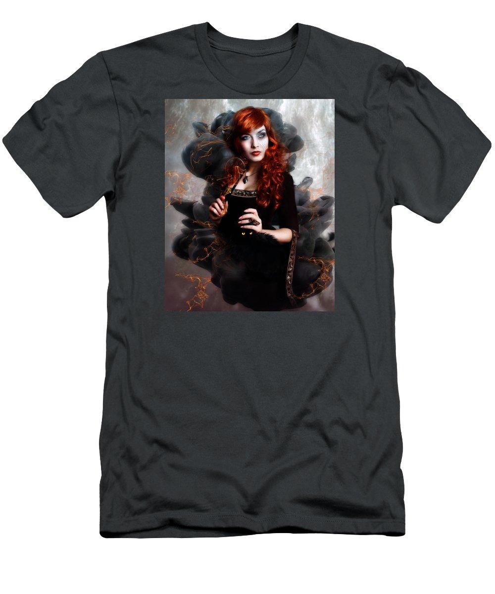 Woman Men's T-Shirt (Athletic Fit) featuring the digital art Black Magic by Karen Koski