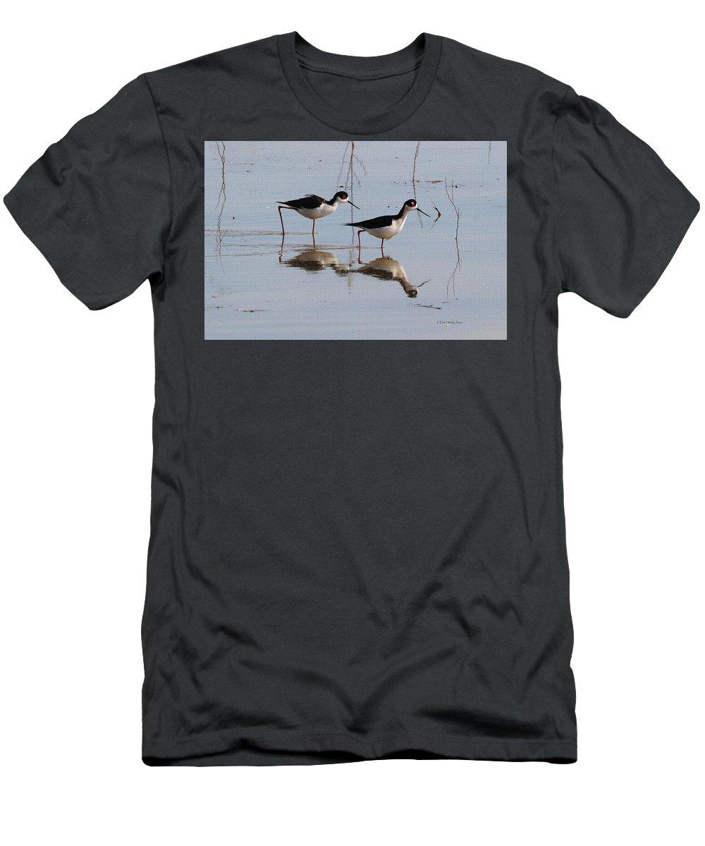 Black Neck Stilt Mates Men's T-Shirt (Athletic Fit) featuring the photograph Black Neck Stilt Mates by Tom Janca